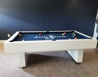 7ft Pool table with custom family name on felt & conversion Ping pong top!