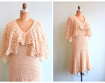 Vintage 1970's Ivory Crochet 20's Inspired Dress | Size Medium