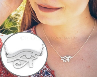 Egyptian Eye Necklace, Sterling Silver Eye, Eye of Horus necklace