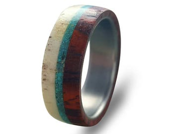 Titanium Ring with Cocobolo Wood, Deer Antler and Turquoise Inlays, Antler Ring, Wooden Band, Wood Ring, Mens Wedding Band, Womens Ring