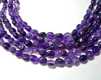 Dark Purple Amethyst Gemstone Beads, Natural Amethyst Pebble Chips, Full Strand, Average Size 9 x 8 mm