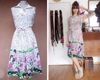 1960's Crepe Silk Summer Dress - 60' Floral Short Sleeve Dress - Size S