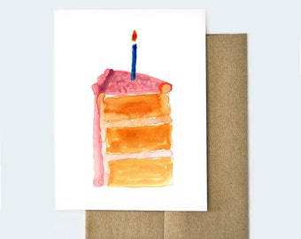 Watercolor Birthday Card | Birthday Card for Best Friend| Watercolor Cards | Birthday Cake Card