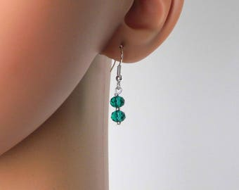 Silver Teal Green Glass Beads Earrings