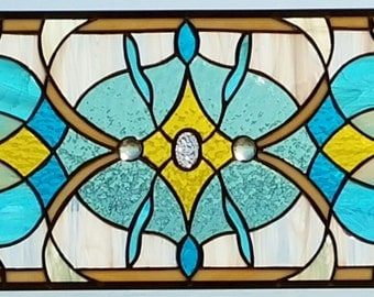 Stained Glass Victorian-Style Window Panel/Sun Catcher