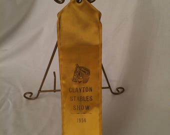 Vintage Horse Competition Ribbon Clayton Stables Show 1954 Mid Century Equestrian Sports Horse Racing Best in Show Award Stables Horses