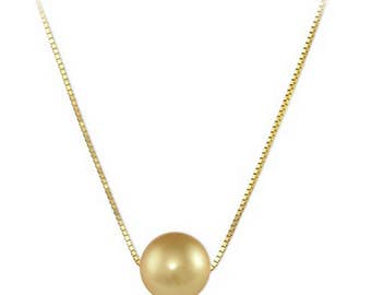 """18"""" 12-13mm Australian Golden South Sea Pearl Necklace in 14K Yellow Gold"""