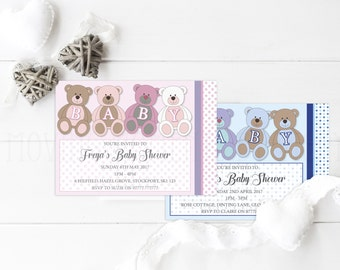 Teddy Bear Themed Baby Shower Invitations with Envelopes