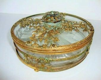 Jewelry-Casket- Trinket Box-Gold Filigree- Ormolu-Footed- Divided Dish- Vanity-Jewelry Box