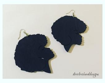 Wooden Earrings - Afro Queen