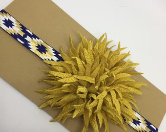 Navy and Gold Baby Headband // Aztec Headbands // Baby Girl Headbands // Baby Bows // Baby Hair Accessories