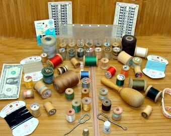Vintage sewing lot-old wood thread spools-vintage  button hooks-old spool holder-old thimbles-old wood sock darner-antique sewing lot
