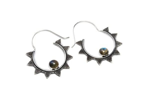 White Brass Labradorite Gemstone Hoop Earrings Tribal Earrings Mandala Jewellery Free UK Delivery Gift Boxed WB55