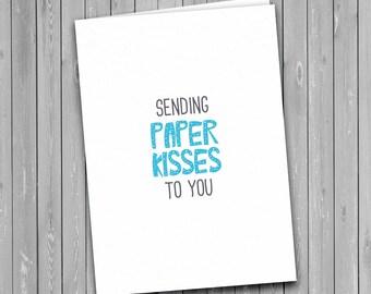 Paper Kisses Card, sending paper kisses, love card
