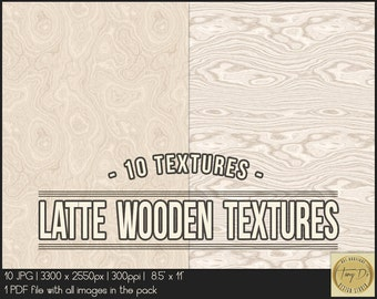 Latte wooden textures | 8.5x11 Printable Digital Papers | Set of 10 Textured Scrapbook Papers | Digital scrapbook | Photo Paper overlays