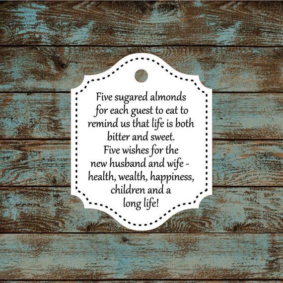 Favor Tags, Jordan Almond Favor Tags, Sugared Almond Favor Tags, Italian Wedding Favor Tags #619  - Qty: 30 Tags
