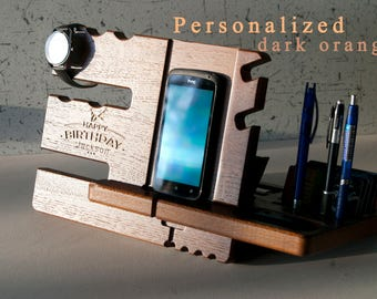 Docking Station,Mens Office Decor.Charging Station ipad,key holder wood,jewelry holder necklace stand wood,your gift,IPhone 7 dock station
