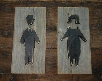 CUSTOM Mens And Womans Bathroom restroom sign for MEGAN