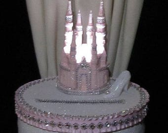 Cinderella Lighted Pink Glittered Castle Wedding Card Box Money Holder Cake Topper Quinceanera