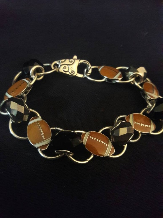 Black and silver football bracelet