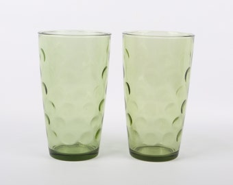 "1968 Hazel Atlas, Continental Can Co., Avocado Dot optic or Thumbprint 24 Ounce Tumblers, Near MINT Cond., 6-1/2"" H x 2-5/8"" Base."