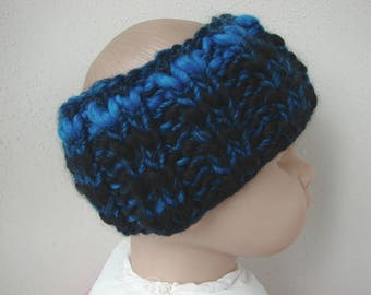 Chunky knit ear warmer blue black kids head warmer size 2 - 5 yrs warm hand knit in round no seams multicolor thick yarn toddler boy girl