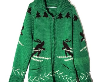 Authentic 1960s/ 1970s Knit Christmas Sweater/ Winter Sweater/ Handmade Knit/ Ski Sweater/ Tacky Christmas Sweater/ Xmas/ Holiday/ W