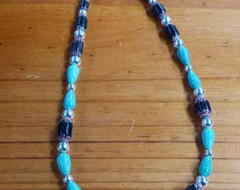 C58  Chevron, Silver And Turquoise Bead Necklace    20 Inch