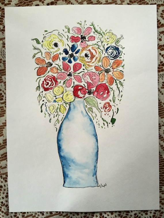 Original Watercolor and Ink Flower Painting, Watercolor Painting