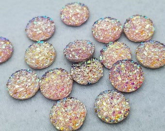 ab Light pink 12mm flat faux druzy Cabochons 10pcs