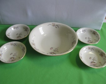 Large Round Serving or Berry Bowl and Small Berry Bowls EPIAG China Pastelle Czechoslovakia