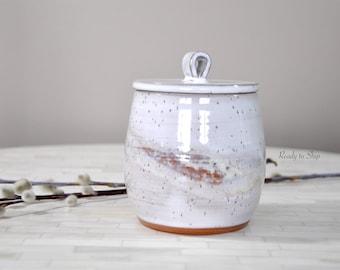 Pottery, Pottery Jar with Lid, Pottery Honey Jar, Pottery Sugar Bowl, Wheel Thrown Pottery, Pottery Canister, Pottery Jar with Lid, Kitchen
