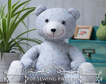 PDF Sewing pattern & tutorial - Smiling Teddy Bear | Stuffed Animal | soft toy | Softies | E-patterns |