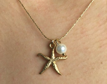 Gold Starfish Necklace Starfish Pearl Necklace