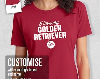 Golden Retriever Shirt, Custom Dog Tag T-Shirt, Personalized Golden Retriever With Message And Pets Name, Golden Retriever T-Shirt