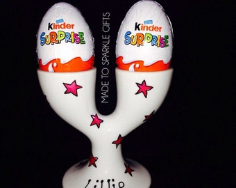 Personalised double egg cup with kinder surprise egg, perfect Easter gift for children