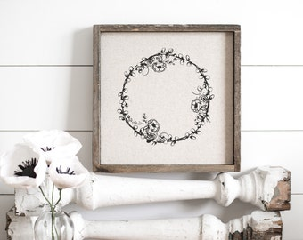 Floral Wreath  // 13x13 Handmade Sign