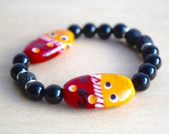 Onyx Bracelet / Essential Oil Diffuser Bracelet / Yoga Bracelet / Meditation Bracelet / Fashion Jewelry / Birthday Gift for Her