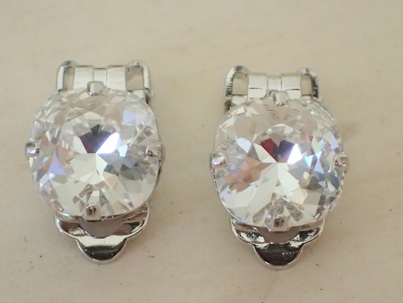 Swarovski Crystal 10mm Cushion Cut Clip On Earrings, Silver
