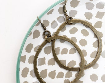 Big antique bronze hoop dangles, boho, bohemian