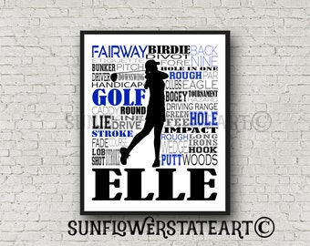 Personalized Golfer Poster, Golfing Print, Golf Art, Typography, Gift for Golfer, Golfing Team Gift, Golfer Gift, Golf Player, Golf Team