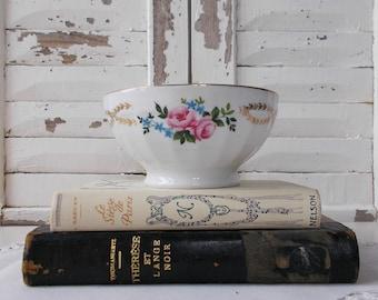 French Café au Lait Bowl Antique White Ironstone stamped Vintage Bowl