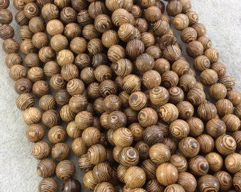 """8mm Smooth Natural Fine/Thin Striped Brown Wooden Round/Ball Shaped Beads with 1.5mm Holes - Sold by 15.75"""" Strands (Approximately 50 Beads)"""