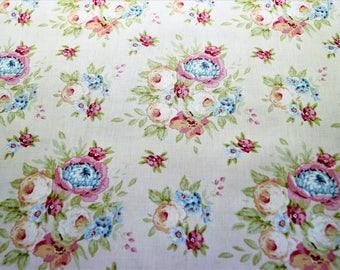 Fabric coupon TILDA Garden Flowers beige, 50*36,50 cm,printed cotton