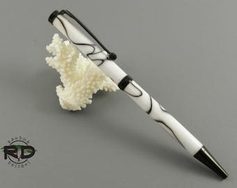 White Acrylic with Black Swirl Pen, Black Chrome Pen, Slimline Pen