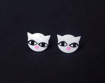 Stainless Steel White Cat Earrings Studs, Cat Jewelry, Cat Studs,  Enamel Earrings, Cat Lover Gift, Teen Earrings Jewelry, Animal Earrings