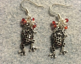 Antique silver and dark red rhinestone frog charm earrings adorned with tiny dark red Chinese crystal beads.