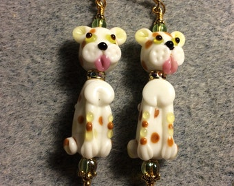 White with lime green and tan spots lampwork puppy dog bead earrings adorned with lime green Czech glass beads.