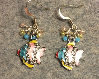 Pink, turquoise, and yellow enamel and rhinestone fish charm earrings adorned with tiny pink, turquoise and yellow Chinese crystal beads.