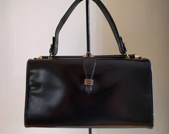 Vintage Black Leather Handbag by Triangle.